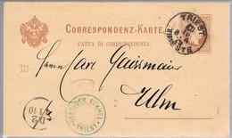 Austria, 1879, Trieste-Ulm - Interi Postali
