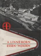 """Aeltere Werbebroschuere / """"Papierfabrik, Buchdruckerei ....... Linneborn Essen-Werden"""", 6 Seiten (B875-30) - Werbung"""