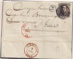 BRIEF N°3 VAN VRACENE BUSSTEMPEL R-ONTWAARD IN BEVEREN WAAS- BESTEMMING SINT GILLIS VIA ST.NIKLAAS-1 DEC.1850 - 1849-1850 Medallions (3/5)