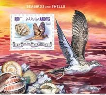 MALDIVES 2014 SHEET SEABIRDS AVES OISEAUX PASSAROS UCCELLI SHELLS SEASHELLS COQUILLAGES CONCHAS MUSCHELN Mld14905b - Maldives (1965-...)