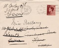 Great Britain EVIIIR, 1 1/2d,  WINDSOR 1 AUG 1937, Redirect ILFORD 2 AUG Redirect POLEGATE 3 AUG > Ilford - Briefe U. Dokumente