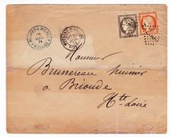 Lettre 1874 Moulins Allier Meunier & Michel Brioude Haute Loire Brunereau Timbre Cérès YT # 38 Et # 56 - 1871-1875 Ceres