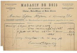 FRESNES SUR ESCAUT MAGASIN DE BOIS ARDOISES CARREAUX DORSIMONT CARPENTIER PETITE FACTURE DE 1896 - 1800 – 1899