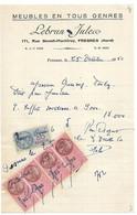 FRESNES SUR ESCAUT LEBRUN JULES MEUBLES EN TOUS GENRES FACTURE DE 1950 - 1950 - ...
