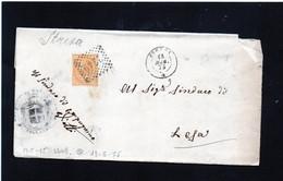CG43 - Piego NO TESTO Da Stresa Per Lesa 15/5/1875  -  Annullo Doppio Cerchio Piccolo Numerale 2219 - Storia Postale