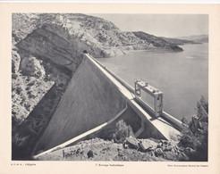 Chromo : Image Pédagogique : Algérie : Barrage Hydraulique : Photo Gouvernement Général D'Algérie : 27cm X 21cm : - Cromo