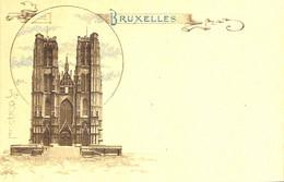 """Bruxelles - Litho Colorisée """"aquarelle"""" PR - Ste Gudule - Marktpleinen, Pleinen"""