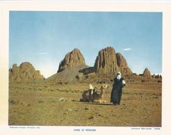 Chromo : Image Pédagogique : Algérie : Dans Le HOGGAR : Dromadaire - Méhari Et Cavalier : 27cm X 21cm : - Cromo