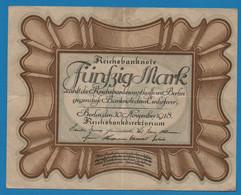 """DEUTSCHES REICH 50 Mark 30.11.1918Série C50 № 137317 P# 65 """"Eierschein"""" - 50 Mark"""