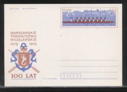 POLAND PC 1978 100 YEARS OF WARSAW ROWING CLUB MINT MERMAID COAT OF ARMS OARS ANCHOR Cp 699 WATER SPORTS - Remo