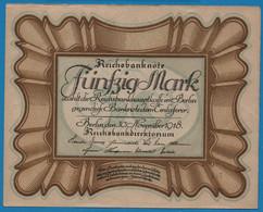 """DEUTSCHES REICH 50 Mark 30.11.1918Série D71 № 836294 P# 65 """"Eierschein"""" - 50 Mark"""