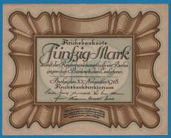 """DEUTSCHES REICH 50 Mark 30.11.1918Série D71 № 836295 P# 65 """"Eierschein"""" - 50 Mark"""