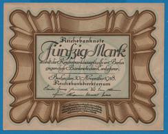 """DEUTSCHES REICH LOT 2 X50 Mark 30.11.1918Série D71 № 836296 + 97 P# 65 """"Eierschein"""" - 50 Mark"""