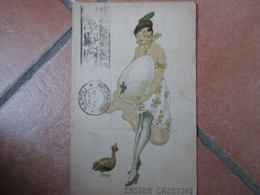 Donnine Woman UOVA Cappello Gambe Calze Easter Greetings 1921 N.365 3 - Sin Clasificación