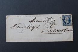 1858,LSC CAD 25/07/58 PARIS LETTRE G LOSANGE SUR Y&T NO 14 BLEU FONCE POUR LAVAUR (TARN) CAD ARRIVEE 27/07/58 - 1849-1876: Klassik