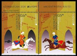 AZERBAIJAN 2020 EUROPA: Ancient Postal Routes. Horses. Pair Perf On 3 Sides, MNH - 2020