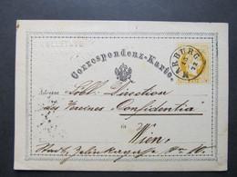 GANZSACHE Marburg - Wien Blinddruck Perfin Firmenlochung Vorläufer Kolletnig 1872 ///  D*46512 - 1850-1918 Imperium