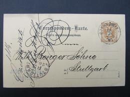 GANZSACHE Czernowitz - Stuttgart 1887 Josef Strihafka ///  D*46513 - 1850-1918 Imperium
