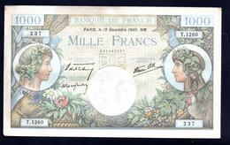 Banconota Francia 1000 Francs 1940 - 1 000 F 1927-1940 ''Cérès Et Mercure''