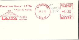 EMA RARE SPECIMEN SECAP 24.3.72 - CONTRUCTIONS LAÏTA 56300 PONTIVY  /2 - Marcofilia (sobres)
