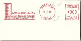 EMA RARE SPECIMEN SECAP 8.4.69 - SADETRA BTP 86 POITIERS /2 - EMA (Print Machine)