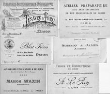 10 Cartes De Visite Ou Commerciales. France Dont Dijon, Le Havre, Auxerre, Paris, Besançon, Reims, Etc Bon état 6 Scan. - Visiting Cards