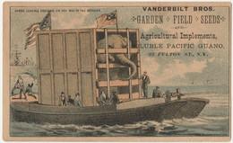 Vintage 1800's  Victorian American Trade Card Vanderbilt Fulton St New York Elephant   Chromo Américaine - Andere