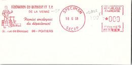 EMA RARE SPECIMEN SECAP 18.6.68  - FEDERATION BTP VIENNE 86 POITIERS  /3 - EMA (Print Machine)