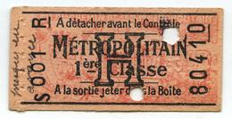 Paris . Métropolitain . Ticket De Métro H 1re Classe S001R . - Europe