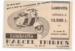 CARD  MOTO LAMBRETTA UTILITARIA  PUB. MARCEL THIRION  LA LOUVIERE CARTA ASSORBENTE? FP-V-2 -0882-29647 - Motorfietsen