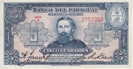 BILLETE DE PARAGUAY DE 5 GUARANIES DEL AÑO 1943 EN CALIDAD EBC (XF)  (BANKNOTE) - Paraguay