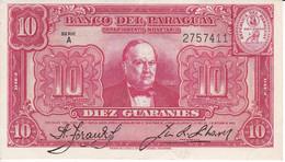 BILLETE DE PARAGUAY DE 10 GUARANIES DEL AÑO 1952 EN CALIDAD EBC (XF)  (BANKNOTE) - Paraguay