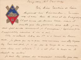 Document Militaire - Carton Avec Entête Blason - Logo Du 68 Régiment D'artillerie - Blindé (1949) (BP) - Documenti