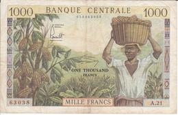 BILLETE DE CAMERUN DE 1000 FRANCS DEL AÑO 1962  (BANKNOTE) - Cameroon