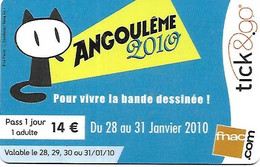 @+ Carte Cadeau - Tick & Go - Festival : BD Angouleme  (2010 - France). - Frankreich