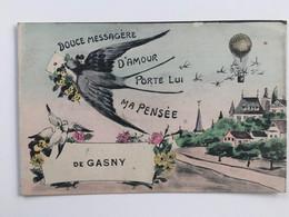 Un Bonjour De Gasny Hirondelle Montgolfière Colombes Douce Messagère D'amour Porte Lui Ma Pensée Années 1920 - Les Andelys