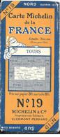 CARTE-ROUTIERE-MICHELIN-1923-N°19-N°2325-68-FRANCE-TOURS-Carte Comme Neuve -Couverture BE - Cartes Routières