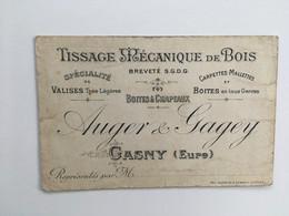 Carte Publicitaire De Visite Auger & Gagey Boîtes à Chapeaux Carpettes Valises Tissage Mécanique De Bois GASNY Eure - Les Andelys