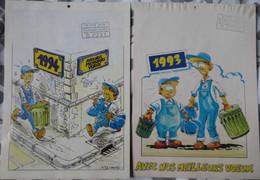 CALENDRIERS ÉBOUEURS 1993 ET 1994 BAGNOLS-SUR-CÈZE, DESSINS HUMORISTIQUES DE MICHEL OURY - Groot Formaat: 1991-00