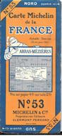 CARTE-ROUTIERE-MICHELIN-1927-N°53-N°2750-11-FRANCE-ARRAS-MEZIERES-Carte Comme Neuve -Couverture TBE - Cartes Routières