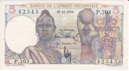 BILLETE DE BANQUE DE L'AFRIQUE OCCIDENTALE DE 5 FRANCS DEL AÑO 1954 EN CALIDAD EBC (XF) - Autres - Afrique