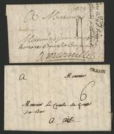 1739 / 1786 Deux Lettres De Grasse. Cote 140 €. Voir Description - 1701-1800: Voorlopers XVIII