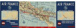Carte Itinéraire 1950 DUNLOP  AIR FRANCE Paris-rome - Cartes Routières