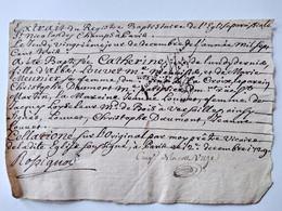 Extrait Du Registre Baptistaire De L'Eglise De St Nicolas Des Champs à Paris - 1729 - Baptême De Catherine Louvet T - Gebührenstempel, Impoststempel