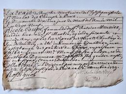 Extrait Du Registre Mortuaire De L'Eglise De St Nicolas Des Champs à Paris - 1729 - Décès Nicole Coupé - TBE - Matasellos Generales