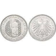 5 DM Gottfried Wilhelm Leibniz 1966 Bankfrisch - [ 7] 1949-… : FRG - Fed. Rep. Germany