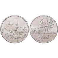 5 DM Immanuel Kant 1974 Bankfrisch - [ 7] 1949-… : FRG - Fed. Rep. Germany