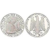 5 DM Walther Von Der Vogelweide 1980 Bankfrisch - [ 7] 1949-… : FRG - Fed. Rep. Germany