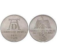5 DM Albrecht Dürer 1972 Bankfrisch - [ 7] 1949-… : FRG - Fed. Rep. Germany