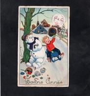 CPSM  - BONNE ANNEE - Enfant, Luge Et Bonhomme De Neige - Neujahr